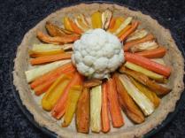 1. Lay roasted veg around the cooked cauliflower